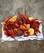 Cajun Posters - Hot Crawfish Poster by Elaine Hodges