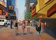 Cities Pastels Prints - Hot Day in New York City Print by Marion Derrett