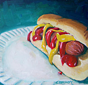 Ketchup Paintings - Hot Dog by Chelsie Brady