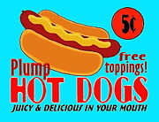 Food Drawings - Hot Dog Sign by Paul Van Scott
