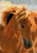 Wild Horse Mixed Media Metal Prints - Hot Ginger Metal Print by Zeana Romanovna