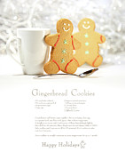Whimsical Prints - Hot holiday drink with gingerbread cookies  Print by Sandra Cunningham