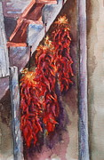 Chili Peppers Painting Originals - Hot Hot Hot Chili Ristras by Donna Pierce-Clark