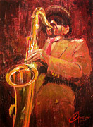 Jazz Artwork Painting Originals - Hot Jazz I by Christopher Clark