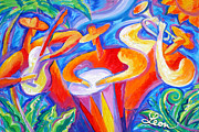 Trumpet Paintings - Hot Latin Jazz by Leon Zernitsky