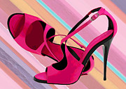 Pumps Painting Prints - Hot Mommas Hot Pink Pumps Print by Elaine Plesser