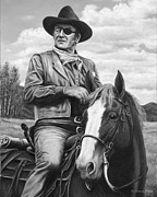 Western Drawings Posters - Hot on the Trail Poster by Kim Lockman