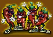 Hot Peppers Digital Art Framed Prints - HOT Peppers Framed Print by Kevin Middleton