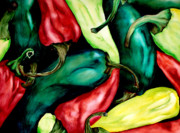 Hot Peppers Painting Originals - Hot Peppers by Sheila Maida