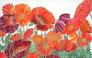 Red Flowers Tapestries - Textiles - Hot Poppies by Zoe Fletcher