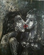 Lesbian Paintings - Hot Red Lips by Helen Wendle