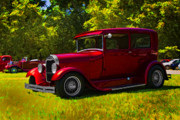 Ford Sedan Framed Prints - Hot Red Sedan Framed Print by Patricia Stalter