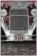 Red Crest Posters - Hot Rod antique car Poster by Sophie Vigneault