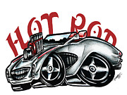 Custom Ford Drawings Metal Prints - Hot Rod Metal Print by Big Mike Roate
