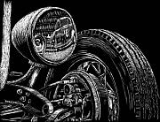 Scratchboard Art - Hot Rod Bob by Bomonster