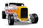 Hot Rod Flames Posters - Hot rod Ford Hi-Boy Coupe 1932 Poster by Oleksiy Maksymenko