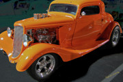 Yellow Black White Silver Prints - Hot Rod Orange Print by DigiArt Diaries by Vicky Browning