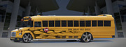 Church Digital Art - Hot Rod School Bus by Mike McGlothlen
