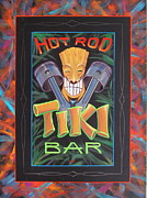 Tiki Bar Painting Prints - Hot Rod Tiki Bar Print by Alan Johnson