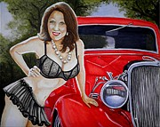 Pin-up Paintings - Hot Rod with some Hot Coco by Al  Molina