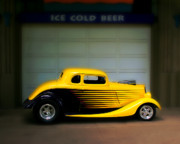 Yellow Paint Framed Prints - Hot Rod Yellow Framed Print by Perry Webster