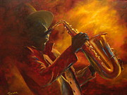 Sax Painting Originals - Hot Sax by Kathleen Tucker