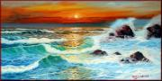 Boats In Water Paintings - Hot sea sunset by Orsucci