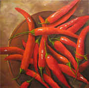 Hot Peppers Posters - Hot Stuff Poster by Colleen Lambert