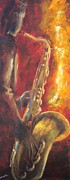 Trombone Painting Originals - Hot Summer Night part 1 of 3 by Kathleen Tucker
