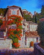 Provence Village Posters - hot summer walk in Provence Poster by Santo De Vita