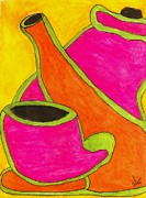 Teapot Paintings - Hot Tea... Cold Juice by Angela L Walker