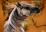 Arabian Horses Prints - Hot Temper Print by Angel  Tarantella