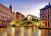 Canal Mixed Media - Hot Venetian Nights by Zeana Romanovna
