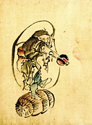 Sketchbook Photo Prints - Hotei the God of Good Fortune 1840 Print by Padre Art
