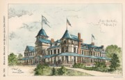 Washington Dc Paintings - Hotel at Forest Glen Park. Washington DC. 1887 by J Schneider
