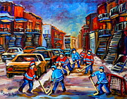 Kids Playing Hockey Paintings - Hotel De Ville Montreal Hockey Street Scene by Carole Spandau