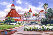 Vacations Painting Prints - Hotel Del Coronado after Rain Print by Mary Helmreich