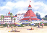 Beach Umbrella Posters - Hotel Del Coronado Beach Poster by Mary Helmreich