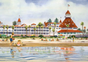 Southern Painting Framed Prints - Hotel Del Coronado from Ocean Framed Print by Mary Helmreich