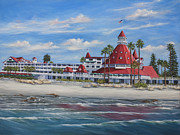 Hotel Painting Originals - Hotel Del Coronado by Lisa Reinhardt