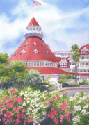 Hotel Paintings - Hotel Del Coronado Palm Trees by Mary Helmreich