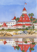 Pacific Ocean Painting Posters - Hotel Del Coronado Reflected Poster by Mary Helmreich