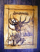 Log Cabin Art Pyrography Prints - Hotel Hubertus-Elk Phyrography Print by Egri George-Christian