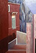Terra Paintings - Hotel in the Cliff by Gloria Cigolini-DePietro