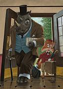 Cartoon Animals Posters - Hotel Rhino And Porter Fox Poster by Martin Davey