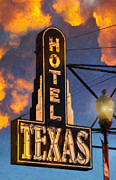 Texas Western Art Collector Posters - Hotel Texas Poster by Jeff Steed