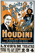Houdini Posters - Houdini, Poster Art For Magic Show Poster by Everett