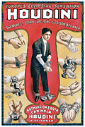 Magician Prints - Houdini The Worlds Handcuff King Print by Unknown