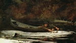Swim Paintings - Hound and Hunter by Winslow Homer