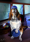 Digital Image Prints - Hound dog bowling Print by Gina Femrite